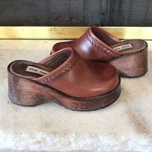 Vintage Steve Madden Braided Leather Wooden Clog